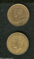 British Honduras: , British Honduras: A pair of Cents as follows: 1914, KM19, iridescent Unc; and a 1945, KM21, Unc., with faded red surfaces.. From the Profess... (Total: 2 coins Item)
