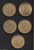 British Honduras: , British Honduras: A lot of Cents including: 1936, 1945, 1949, and (2) 1950. All are Unc. with considerable remaining luster. The three later d... (Total: 5 coins Item)