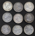 British Honduras: , British Honduras: A set of silver 50 Cents as follows: 1894, KM10, about XF; 1895, KM10, XF with light obverse scratches; 1897, KM10, cleaned ... (Total: 9 coins Item)