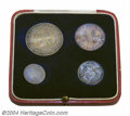 """British West Africa: , British West Africa: 1913 """"So Called"""" Specimen set consisting of:Threepence, Sixpence, Shilling, and 2 Shilling, in a Royal Mint redleather cas..."""