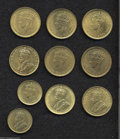 British West Africa: , British West Africa: A mixed lot of Sixpence and Shillings asfollows: Sixpence 1935 and 1942, both Unc. with some remainingluster; Shillings, 1... (Total: 10 coins Item)