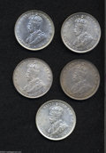 British West Africa: , British West Africa: A silver 2 Shilling Lot including: 1913 AU,1915H XF, 1916H toned AU, 1918H Choice AU, and a 1919 AU with anobverse scratch... (Total: 5 coins Item)