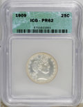 Proof Barber Quarters: , 1909 25C PR62 ICG. NGC Census: (10/189). PCGS Population (20/171). Mintage: 650. Numismedia Wsl. Price for NGC/PCGS coin in...