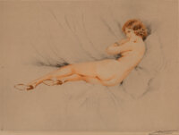 Suzanne Meunier (French, 19th Century) Set of Three Boudoir Nudes Etching on paper, each 12-1/4 x
