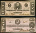 Confederate Notes:1862 Issues, T54 $2 1862 Choice About Uncirculated;. T55 $1 1862 About Uncirculated.. ... (Total: 2 notes)