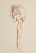 Pin-Up and Glamour Art, Alberto Vargas (Peruvian/American, 1896-1982). Flirt. Colored pencil on paper . 12-1/2 x 8-3/4 inches (31.8 x 22.2 cm) (...