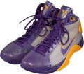 Basketball Collectibles:Others, 2007-08 Kobe Bryant Signed Game Issued Los Angeles Lakers Nike Hyperdunk Sneakers (Purple Colorway)....