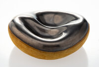 Georges Jouve (French, 1910-1964) Divided Bowl, circa 1955 Ceramic, leather 1-3/4 x 5-1/2 inches