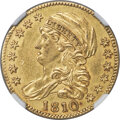 Early Half Eagles, 1810 $5 Large Date, Large 5, BD-4, R.2 -- Cleaned -- NGC Details. Unc....