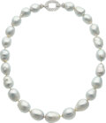 Estate Jewelry:Necklaces, Diamond, South Sea Cultured Pearl, White Gold Necklace. ...