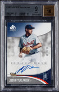 Baseball Cards:Singles (1970-Now), 2006 SP Authentic Justin Verlander Rookie Authentic Signatures #294 BGS Mint 9, Auto 10 - Serial Numbered 162/199....