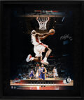 """Basketball Collectibles:Photos, 2004 LeBron James Signed UDA Limited Edition (73/123) """"ROY 04"""" Oversized Photograph with Inscription...."""