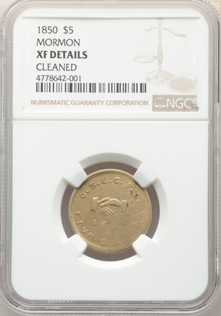 1850 Mormon Five Dollar 40 Details NGC