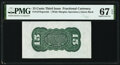Fractional Currency:Third Issue, Fr. 1272SP 15¢ Third Issue Wide Margin Back PMG Superb Gem Unc 67 EPQ.. ...