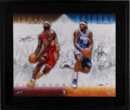 Basketball Collectibles:Photos, 2000's LeBron James & Carmelo Anthony Signed UDA Photograph Display. ...