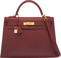 "Luxury Accessories:Bags, Hermès 32cm Rouge H Tadelakt Leather Sellier Kelly Bag with Gold Hardware. E Square, 2001. Condition: 3. 12.5"" Wid..."