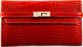 """Luxury Accessories:Accessories, Hermès Shiny Rouge Casaque Alligator Kelly Long Wallet with Gold Hardware. T, 2015. Condition: 2. 8"""" Width x 4.5"""" ..."""
