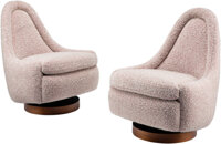Milo Baughman (American, 1923-2003) Pair of Swivel Chairs, circa 1960 Walnut, upholstery 28-1/4 x