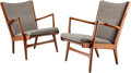 Furniture, Hans J. Wegner (Danish, 1914-2007). Pair of Lounge Chairs, circa 1950. Teak, upholstery. 25 x 26 x 28 inches (63.5 x 66.... (Total: 2 Items)