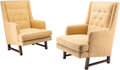 Furniture, Edward Wormley (American, 1907-1995). Pair of Mister Lounge Chairs, circa 1955, Dunbar. Mahogany, upholstery. 39 x 28 x ... (Total: 2 Items)