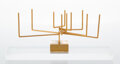 Sculpture, Yaacov Agam (b. 1928). Menorah, 1979. Gold plated kinetic sculpture. 3-3/4 x 9 inches (9.5 x 22.9 cm). Ed. 27/47. Incise...