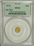 California Fractional Gold: , 1872 25C Indian Octagonal 25 Cents, BG-791, R.3, MS64 PCGS. PCGSPopulation (93/18). NGC Census: (9/15). (#10618)...