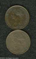 Canada:New Brunswick, Canada: New Brunswick. Victoria 1/2 Cent 1861, KM5, AboutUncirculated, glossy and quite bold with a few specks of porosityalong th... (Total: 2 coins Item)