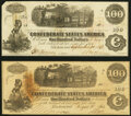Confederate Notes:1862 Issues, T40 $100 1862 Two Examples Extremely Fine or Better.. ... (Total: 2 notes)
