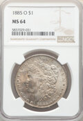 Morgan Dollars, 1880-S $1 MS64 NGC. This lot will also include the following: 1884-O $1 MS64 NGC; 1885 $1 MS64 NGC; and a (2)1... (Total: 5 coins)
