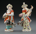Ceramics & Porcelain, A Pair of Meissen Porcelain Figures: Malabar and Malabarin, Germany, 19th century. Marks to male figure:... (Total: 2 Items)