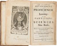 Francis Bacon. Of the Advancement and Proficiencie of Learning: or the Partitions of Science
