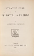 Books:Literature Pre-1900, Robert Louis Stevenson. Strange Case of Dr. Jekyll and Mr. Hyde. London: Longman's, Green, and Company, 1886. First ...
