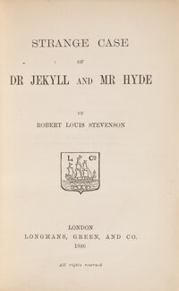 Robert Louis Stevenson. Strange Case of Dr. Jekyll and Mr. Hyde. London: Longman's, Green, and