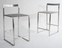 Mark Albrecht Studio (American) Metal Back Counter Stools Satin stainless steel and grey leather