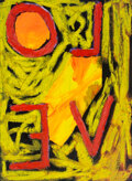 Paintings, Samuel Jablon (American, b. 1986). Untitled (LOVE), 2020. Oil on paper. 15 x 11 inches (38.1 x 27.94 cm). Signed Samue...