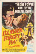 """Movie Posters:Drama, I'll Never Forget You (20th Century Fox, 1951). Folded, Overall: Very Fine. One Sheet (27"""" X 41""""), Title Lobby Card & Lobby ... (Total: 5 Items)"""