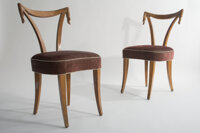 Grosfield House & Thomas O'Brien Pair of Carved Chairs Fruitwood with upholstered Merlot Roberto vel