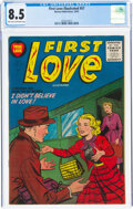 Golden Age (1938-1955):Romance, First Love Illustrated #57 (Harvey, 1955) CGC VF+ 8.5 Light tan to off-white pages....