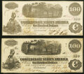 Confederate Notes:1862 Issues, T40 $100 1862 Two Examples About Uncirculated.. ... (Total: 2 notes)
