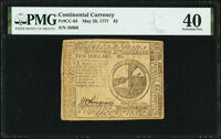 Continental Currency May 20, 1777 $2 PMG Extremely Fine 40