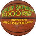 Basketball Collectibles:Balls, 1995 Detlef Schremph Game Used & Signed 10,000 Career Points Presentational Seattle Supersonics Basketball....