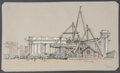 Other, J. Andre Smith (American, b. 1880). The Construction of the Colonnade Entrance to the Manhattan Bridge, circa 1915. Blac...