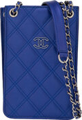 """Luxury Accessories:Accessories, Chanel Blue Quilted Lambskin Leather Phone Holder Crossbody Bag. Condition: 2. 4"""" Length x 6"""" Height x 1.5"""" Depth. ..."""