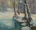 Paintings, Robert William Wood (American, 1889-1979). Snowy Brook. Oil on canvas. 25 x 30 inches (63.5 x 76.2 cm). Signed lower rig...