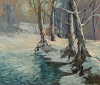 Robert William Wood (American, 1889-1979) Snowy Brook Oil on canvas 25 x 30 inches (63.5 x 76.2 c