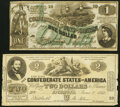 Confederate Notes:1862 Issues, CT42 $2 1862 Counterfeit Very Fine;. CT45 $1 1862 Counterfeit About Uncirculated.. ... (Total: 2 notes)