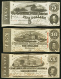 Confederate Notes:1863 Issues, T58 $20 1863 About Uncirculated;. T59 $10 1863 Very Fine;. T60 $5 1863 Very Fine.. ... (Total: 3 notes)