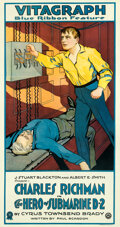 """Movie Posters:War, The Hero of Submarine D-2 (Vitagraph, 1916). Fine on Linen. Three Sheet (42.25"""" X 80.5"""").. ..."""