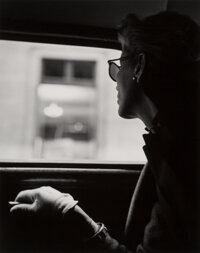 Fernand Fonssagrives (French, 1910-2003) Lisa in Taxicab, New York City, 1945 Gelatin silver, printe