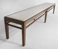 Furniture, Atelier Demiurge (American). Siene Bench. Walnut with a sandy finish and white linen. 96 x 16 x 18 inches (243.84 x 40.6...